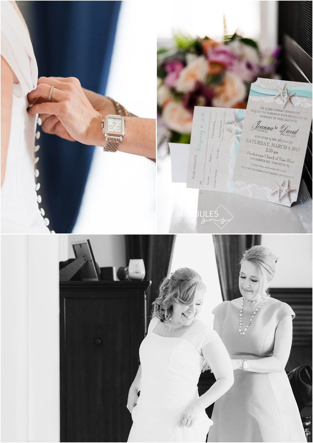 Maid of honor helps the bride into her dress.  wedding invitations and bridal bouquet.