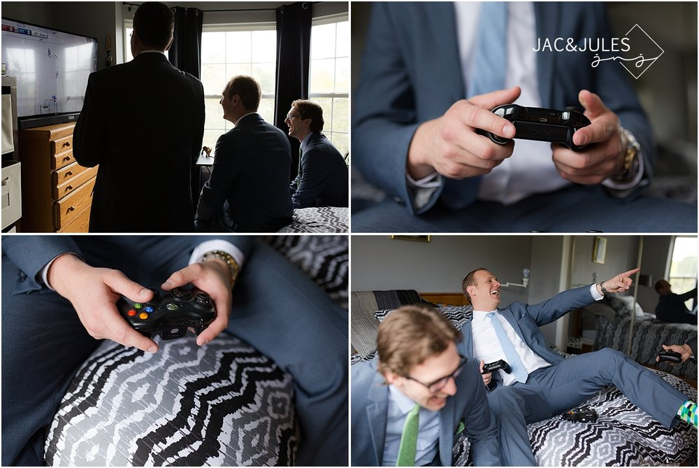jacnjules photograph the groom playing xbox before heading to Allaire for the wedding ceremony