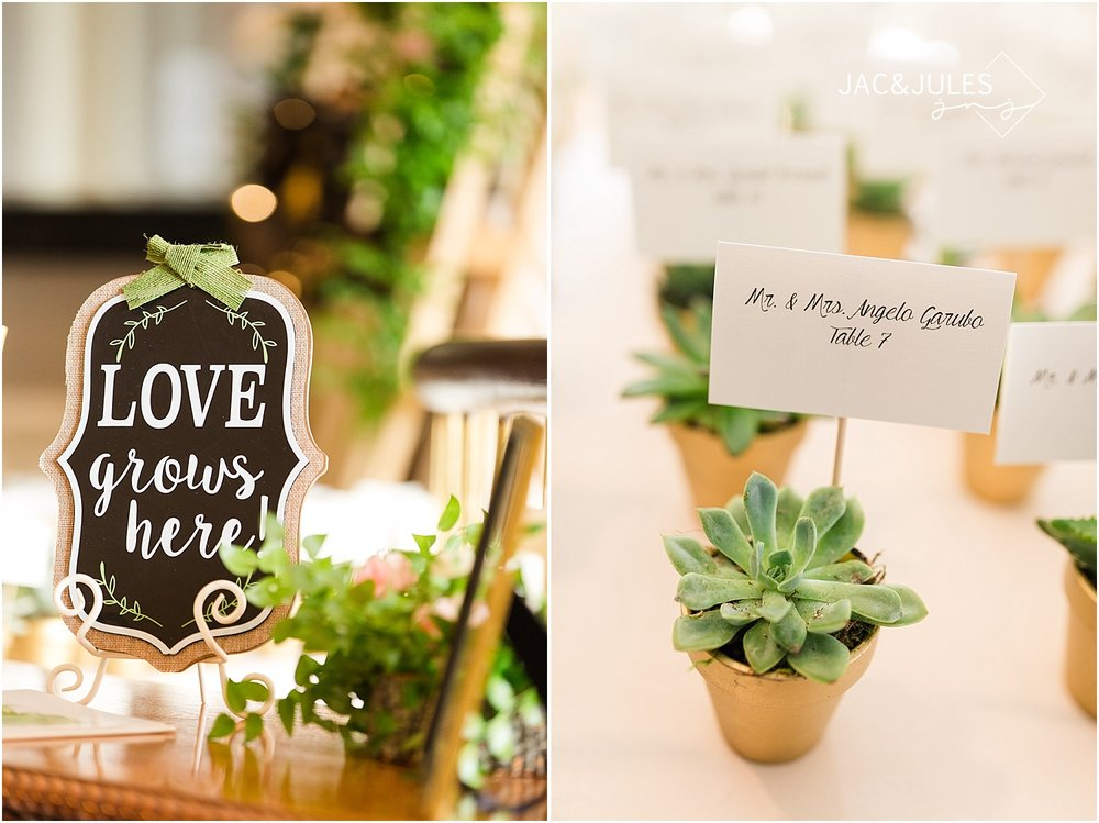 jacnjules photographs rustic wedding details using succulents and chalkboard signs at Oyster Point