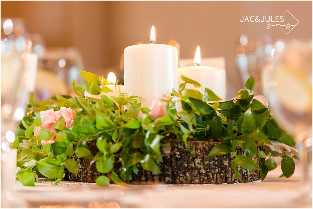 jacnjules photograph rustic spring centerpieces for a wedding at Oyster Point in Red Bank NJ