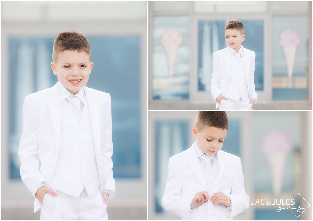 First Holy Communion pictures at ice cream shop in Asbury Park, NJ.
