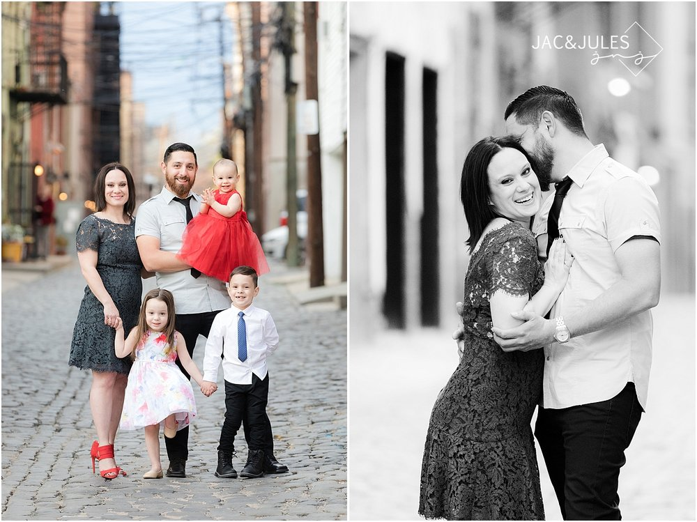 jacnjules photographs family on cobblestone street in Hoboken NJ