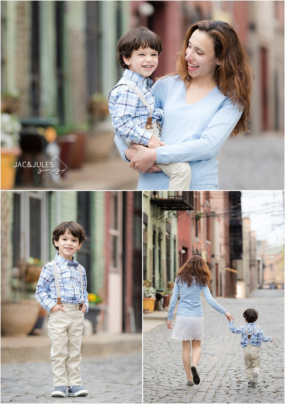 jacnjules photographs mom and son in Hoboken NJ using natural light