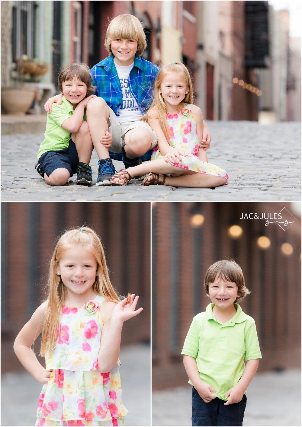 Kids on cobblestone street in Hoboken, NJ.