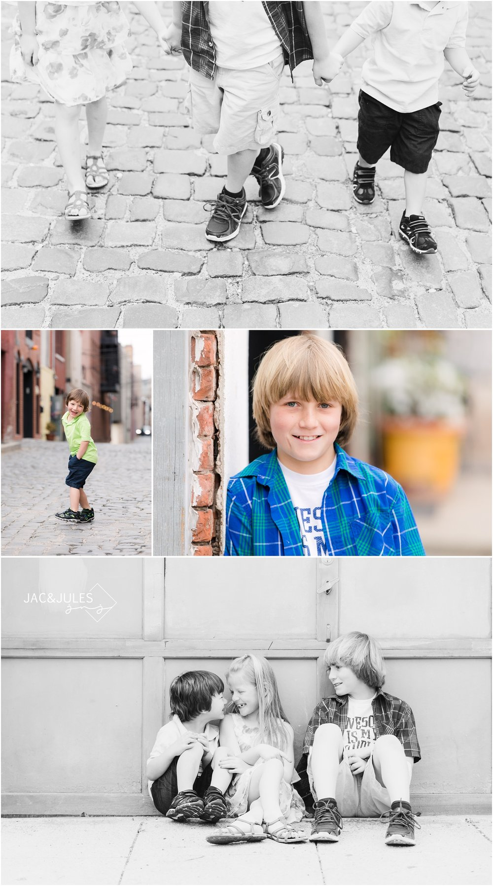 Kids on cobblestone street in Hoboken, NJ.