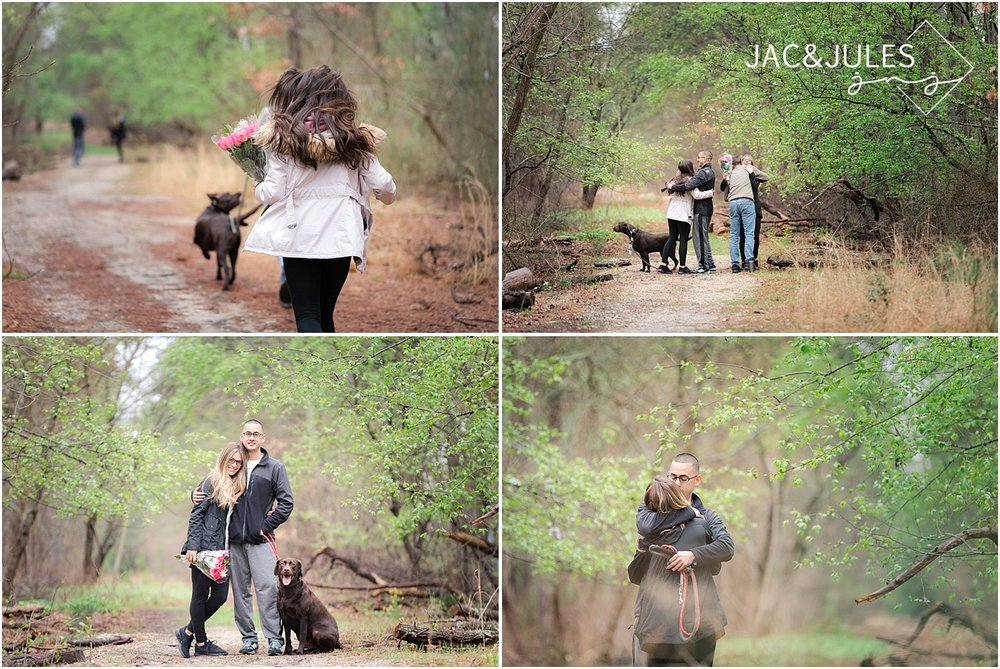 jacnjules photographs engagement proposal in nature in South Jersey