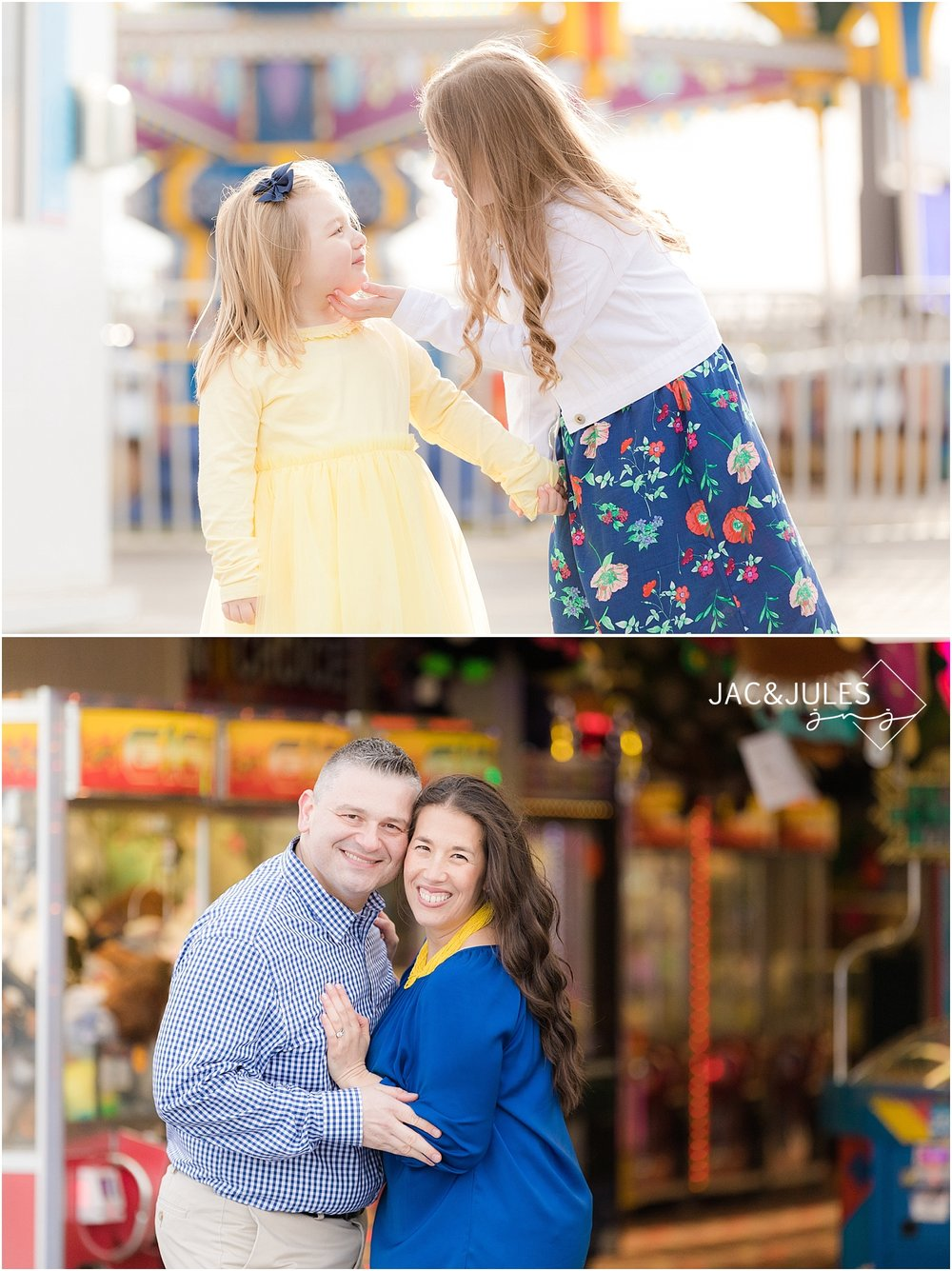 jacnjules photograph fun family portraits on the boardwalk in Point Pleasant NJ at the Jersey Shore
