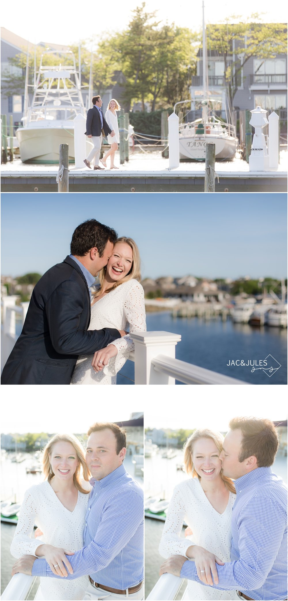 Engagement photos on the boat dock at Bay Head Yacht Club in New Jersey