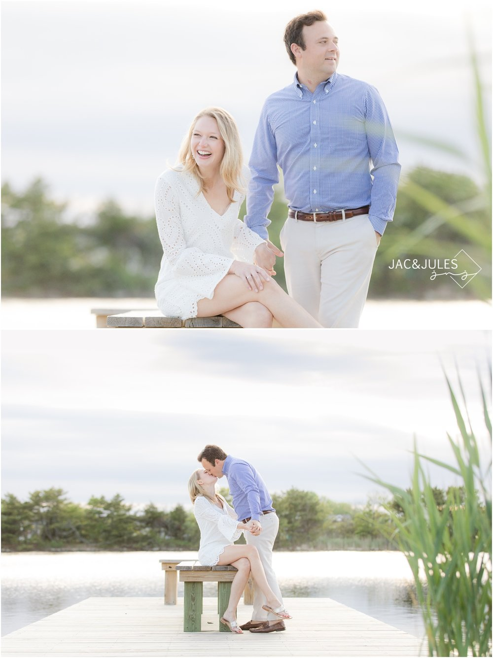 Engagement photos on the lake in Bay Head, NJ