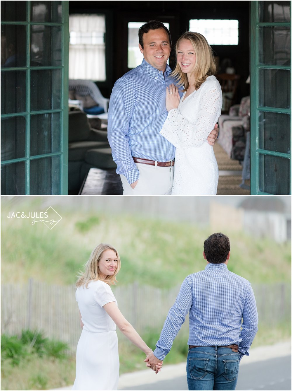 Engaged couple in their family's historic Bay Head, NJ home.
