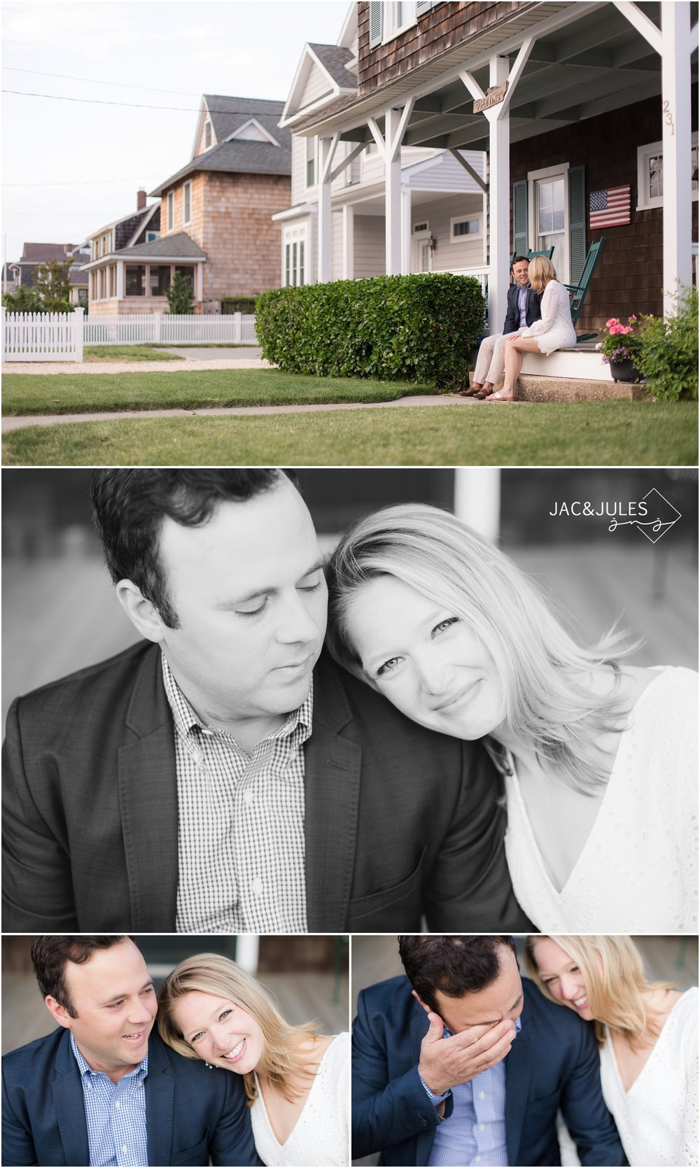 Engaged couple on the porch of their historic Bay Head, NJ home.