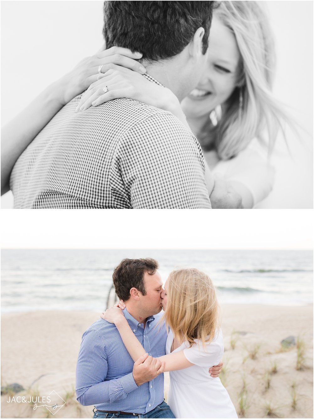 Engagement photos on the beach in Bay Head, NJ.