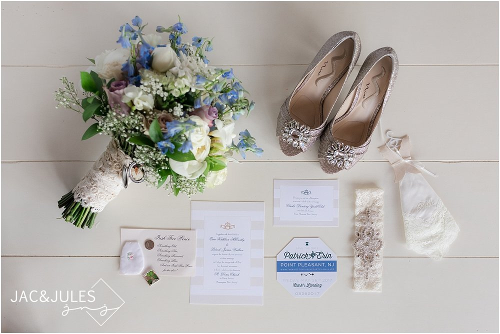 soft colored wedding details by the beach