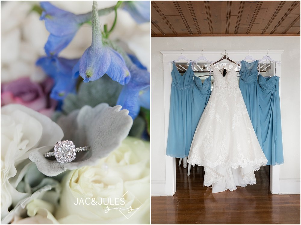 wedding bouquet and engagement ring with blue bridesmaid dresses