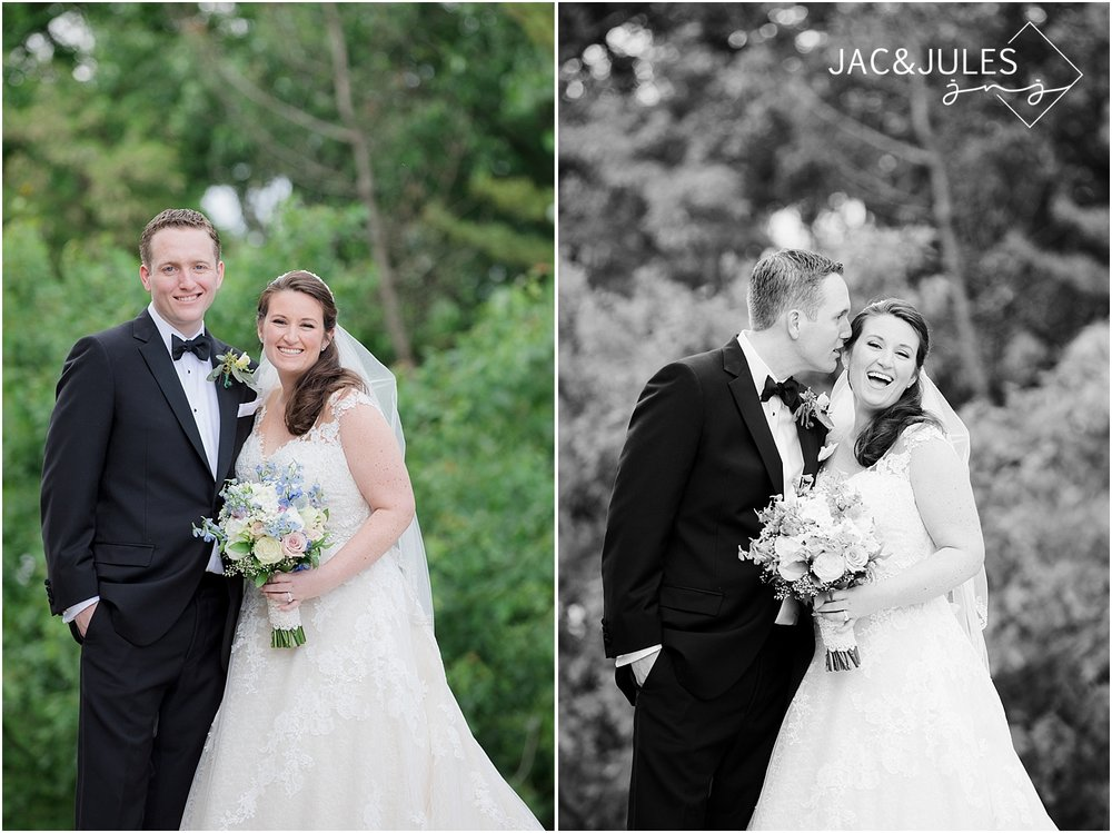 bride and groom portrait at church of st. dennis in manasquan NJ