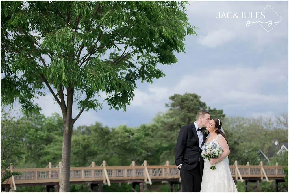 bride and groom portrait at divine park in spring lake nj