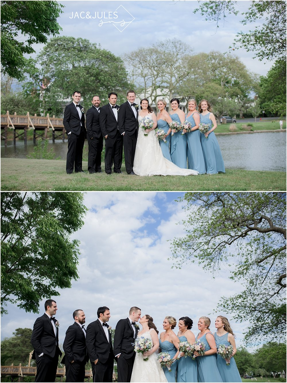bridal party photo at divine park in spring lake nj