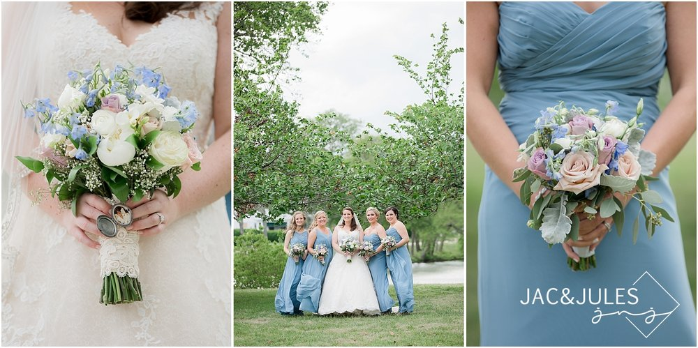 jacnjules photograph wedding bouquets and bridesmaids in blue dresses