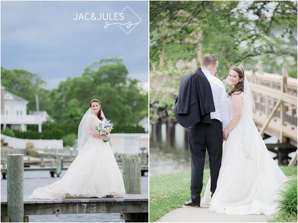 bridal portrait on the dock at clarks landing in point pleasant nj