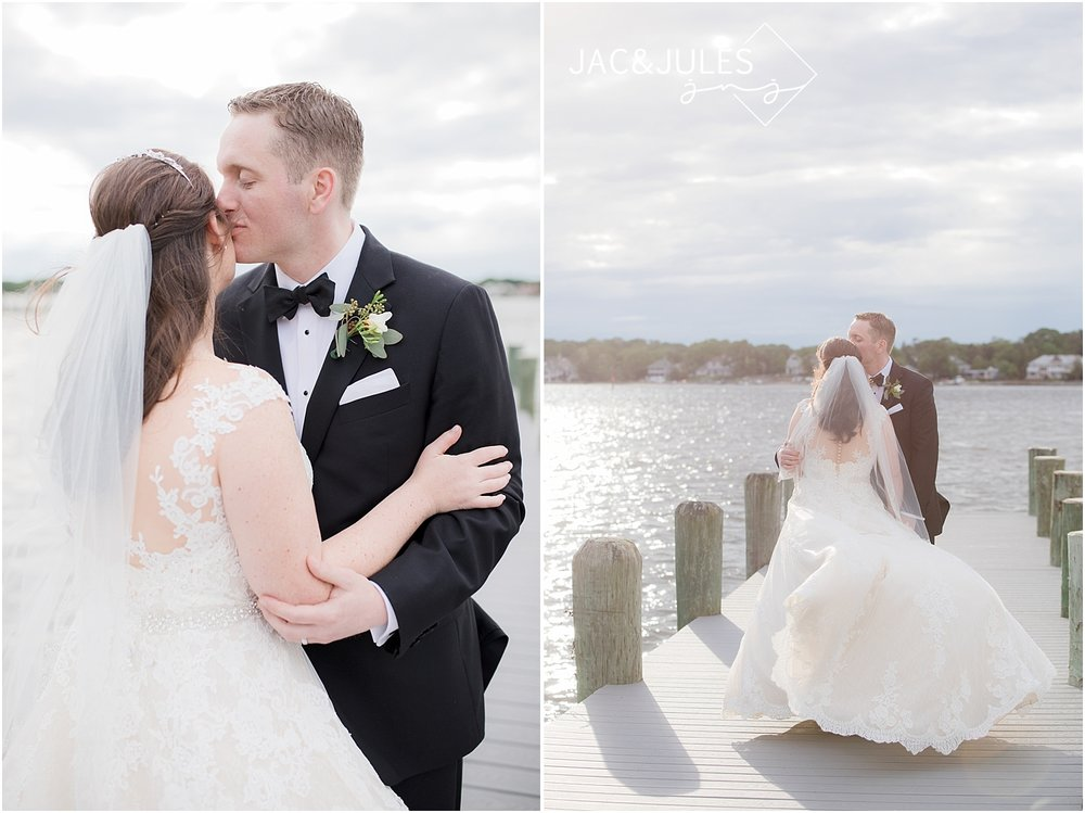 romantic wedding photo on the dock at clarks landing in point pleasant nj