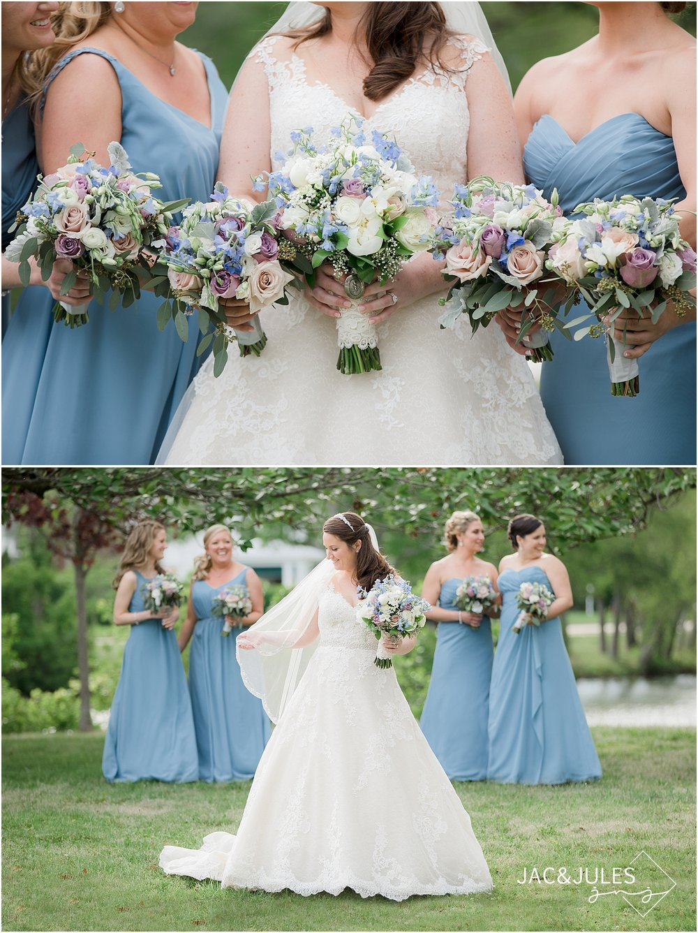 bridesmaids in blue dresses in spring lake nj