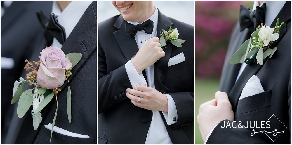 jacnjules photographs groomsmen boutonnieres in spring lake nj