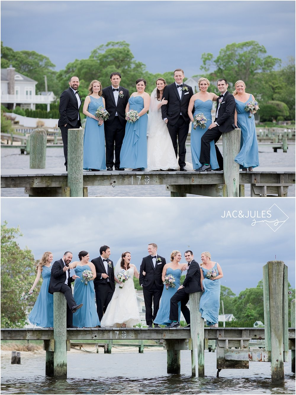 fun wedding bridal party on the dock at clarks landing in point pleasant nj