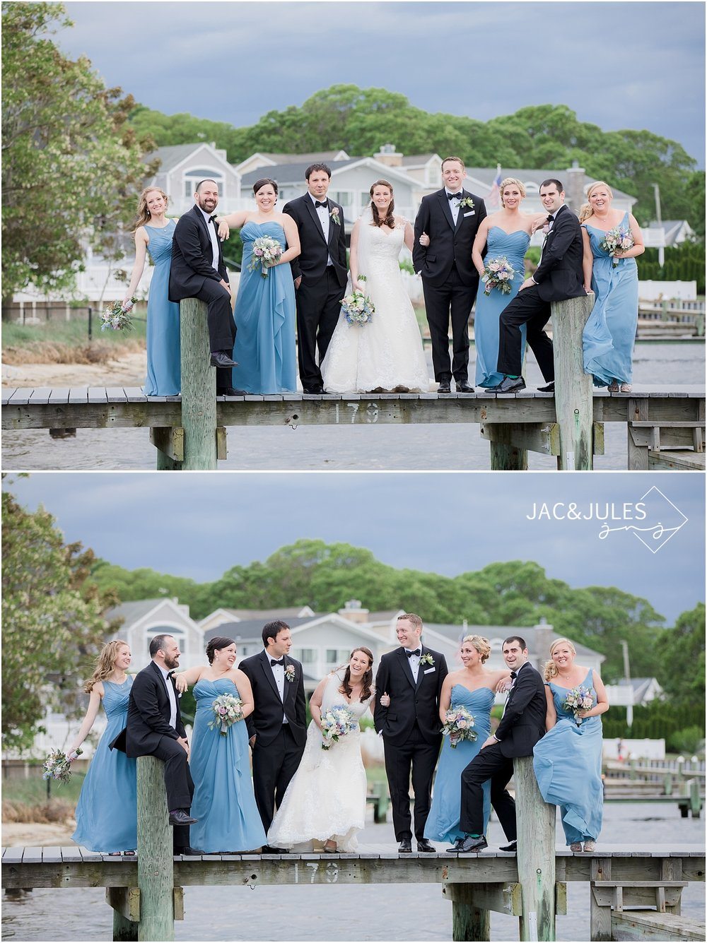 colorful bridal party on the dock at clarks landing in point pleasant nj