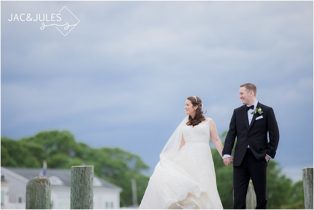 bright bride and groom photos at clarks landing in point pleasant nj