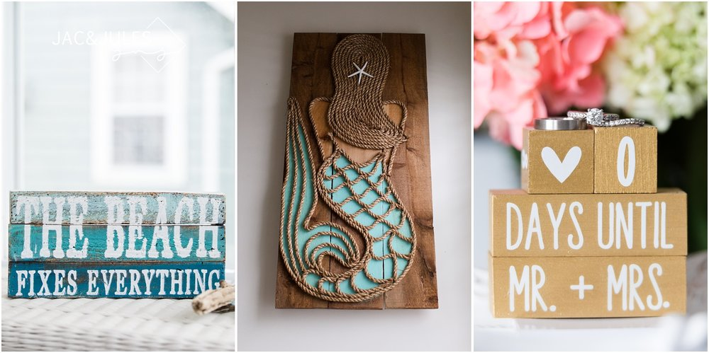 the beach fixes everything sign, and mermaid wall art.