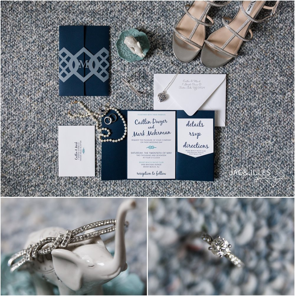Handmade nautical wedding invitations, bridal jewelry, and bridal shoes.