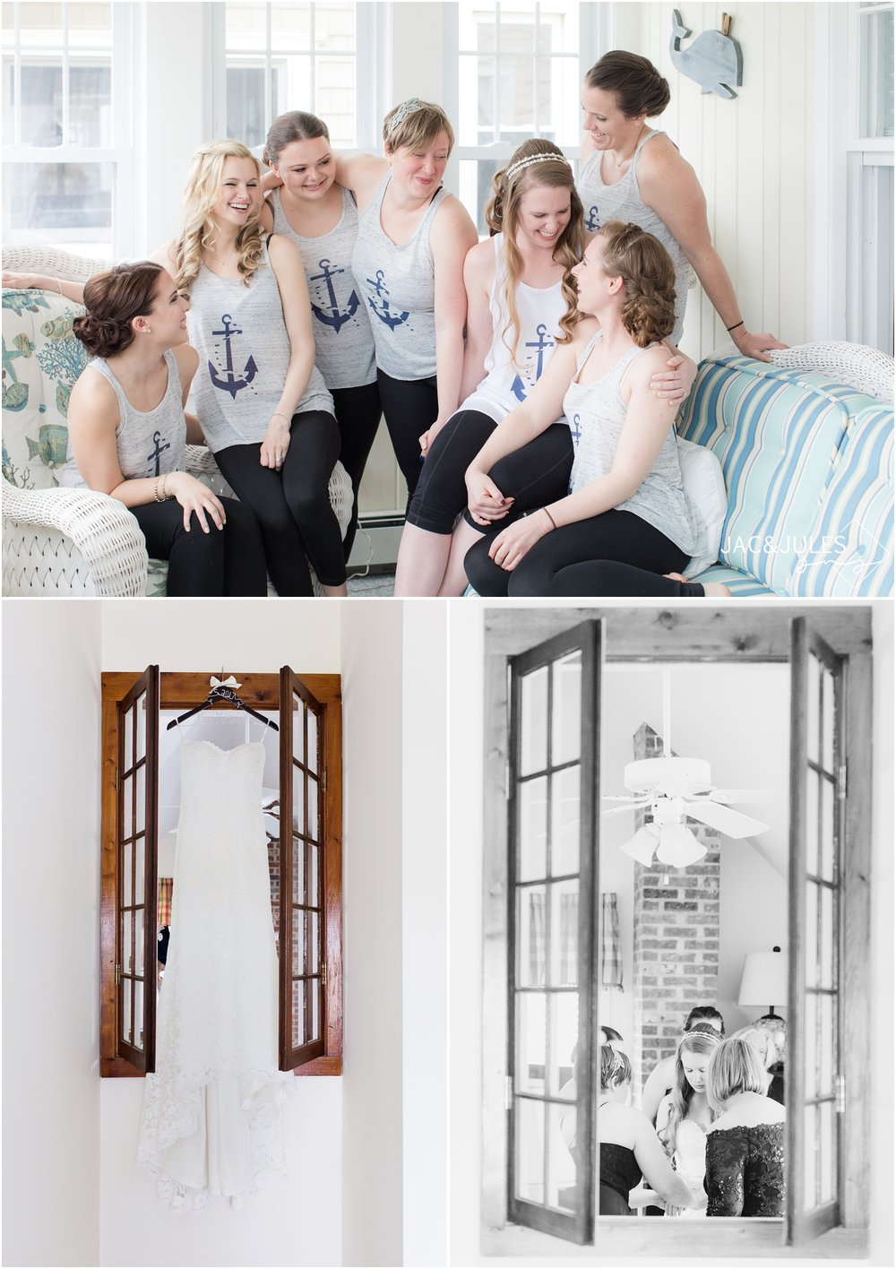 Bridesmaids in matching nautical tank tops, and brides dress hanging in a window at beach home in LBI