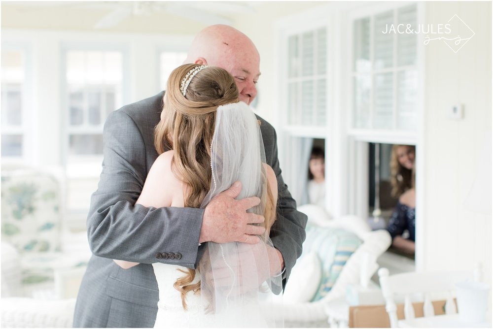 Emotional first look with dad at beach house in Long Beach Island, NJ.