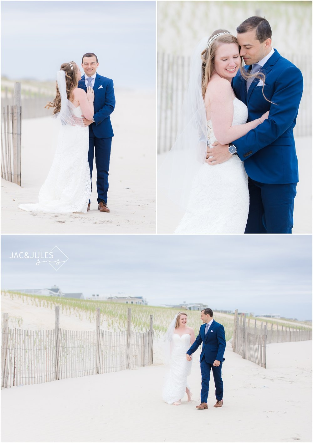 Bride and groom walking on the beach in LBI, NJ.