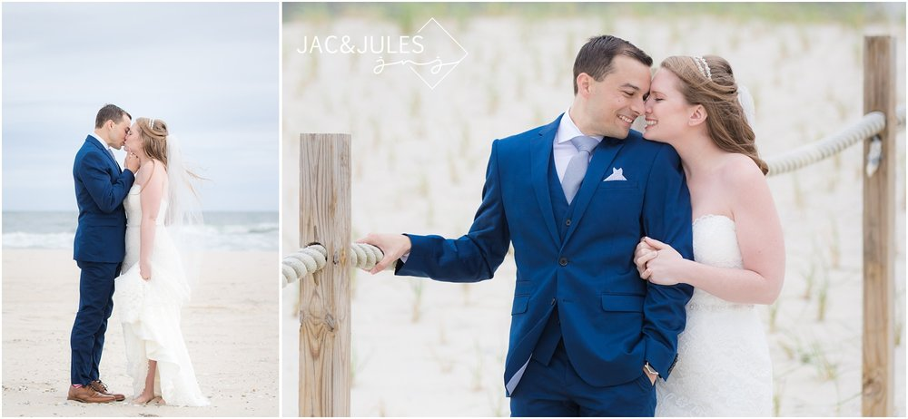 Romantic photos of bride and groom on the beach in LBI, NJ.