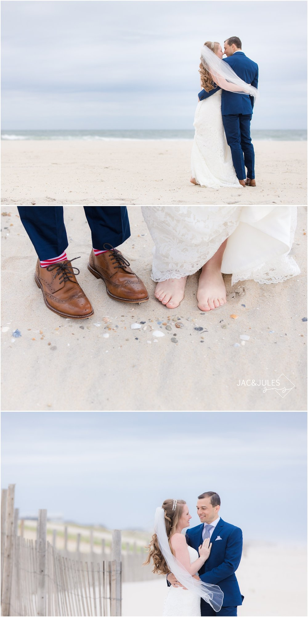 Bride and groom walking on the beach and toes in the sand in Long Beach Island, NJ.