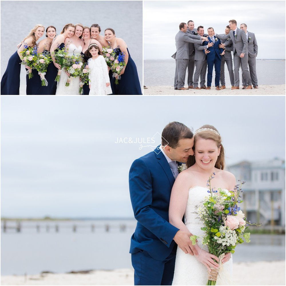 Bridal party photos at Brant Beach Yacht Club in Beach Haven, NJ.
