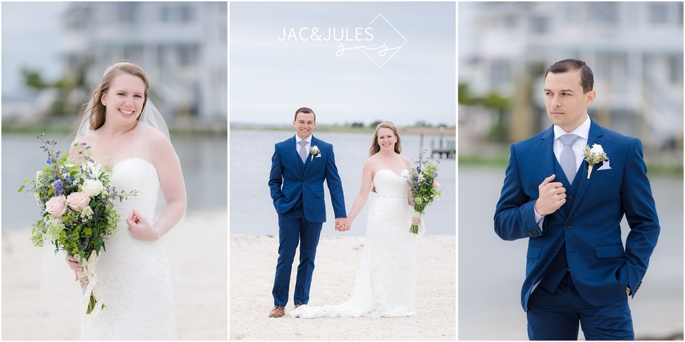 Bride and groom photos at Brant Beach Yacht Club in Beach Haven, NJ.