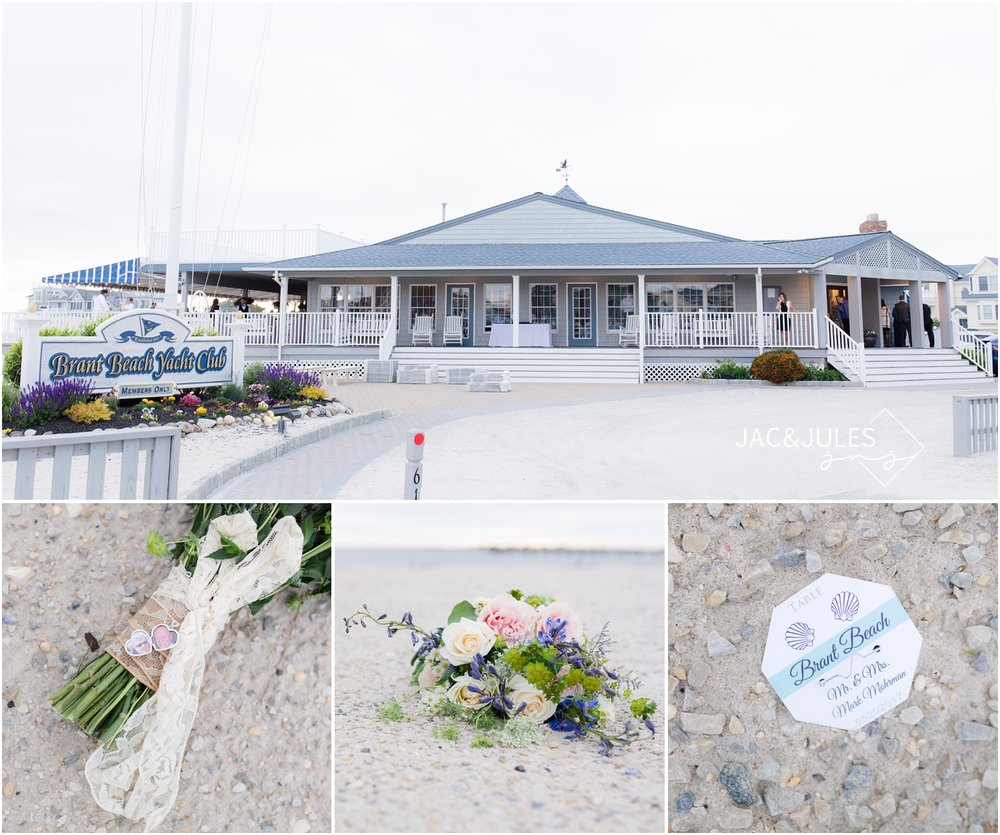 Photo of Brant Beach Yacht Club in Beach Haven, NJ. Bridal bouquet with locket on the beach. Beach badge escort card.
