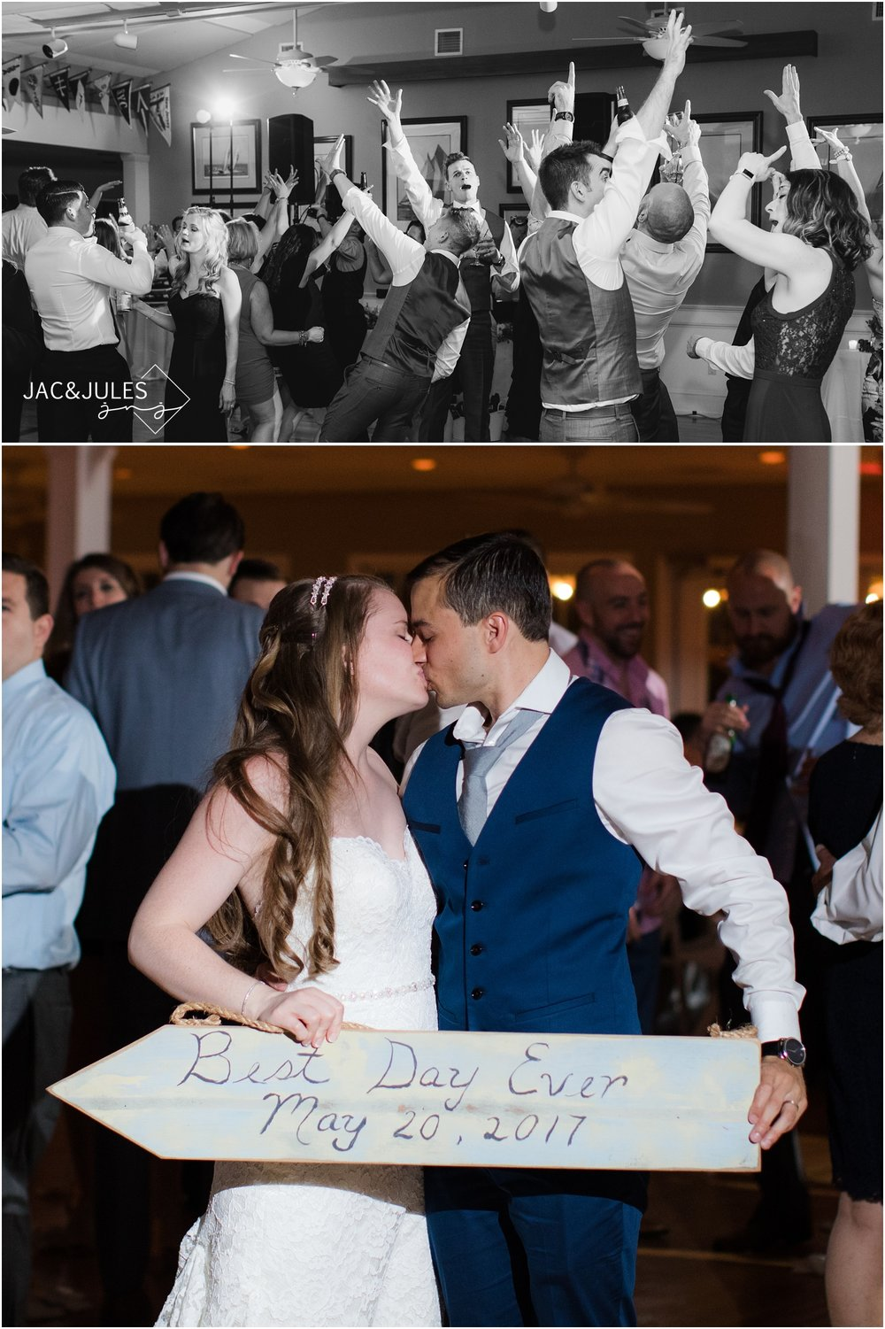 Bride and groom with best day ever wedding sign at Brant Beach Yacht Club in Beach Haven, NJ.