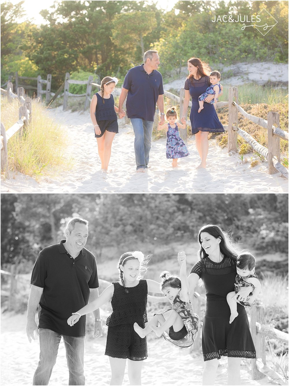 family wearing navy for their beach portraits in island beach state park