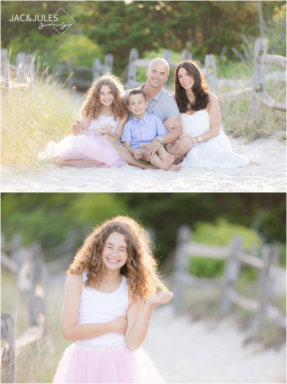 natural light family photos on the beach in NJ