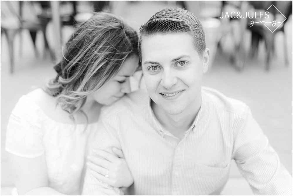 black and white engagement photo in philly