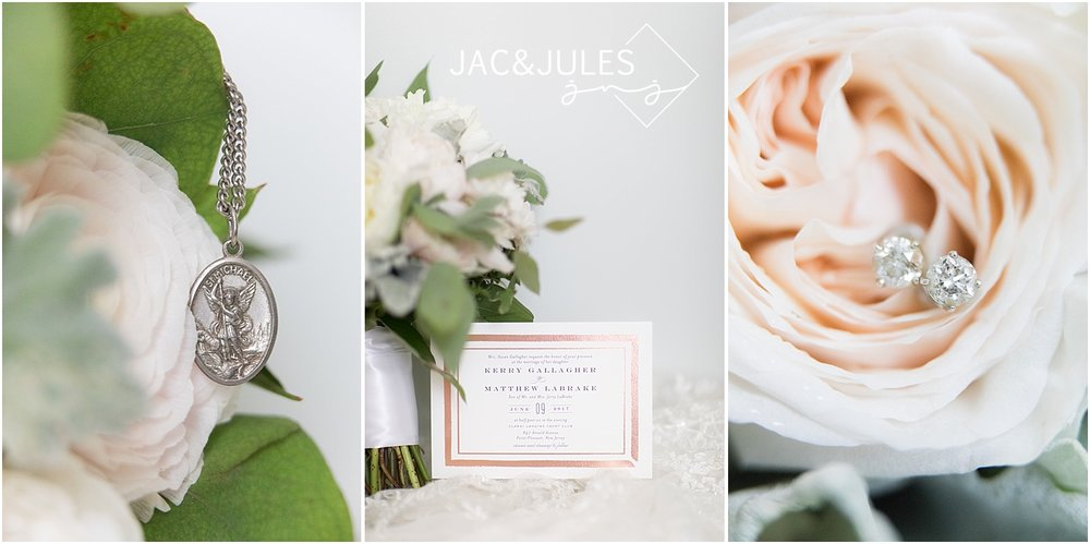 pretty bridal details with light pink flowers and greenery
