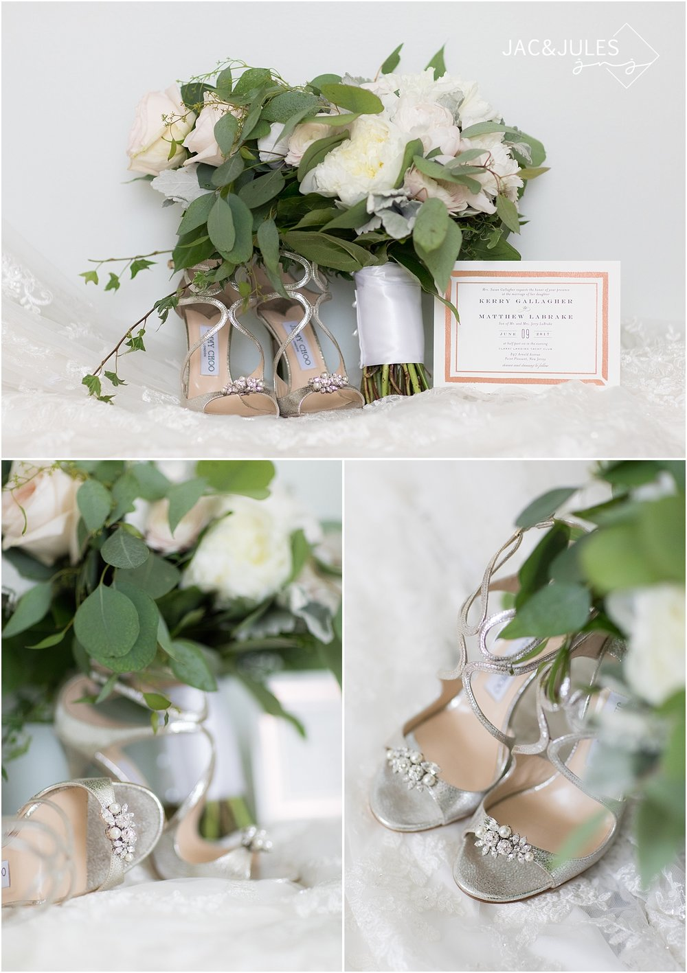 beautiful bride details and wedding bouquet by narcissus florals in toms river nj