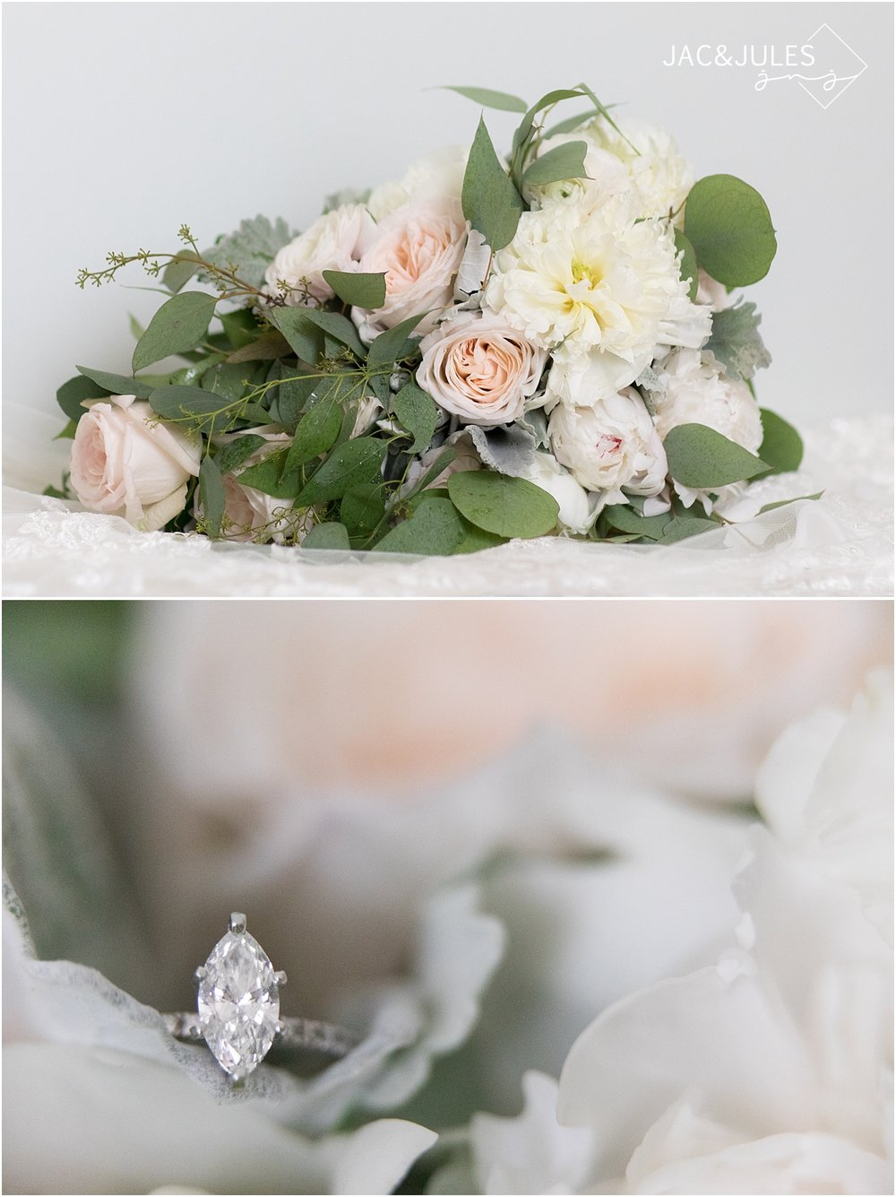 wedding bouquet by narcissus florals and engagement ring