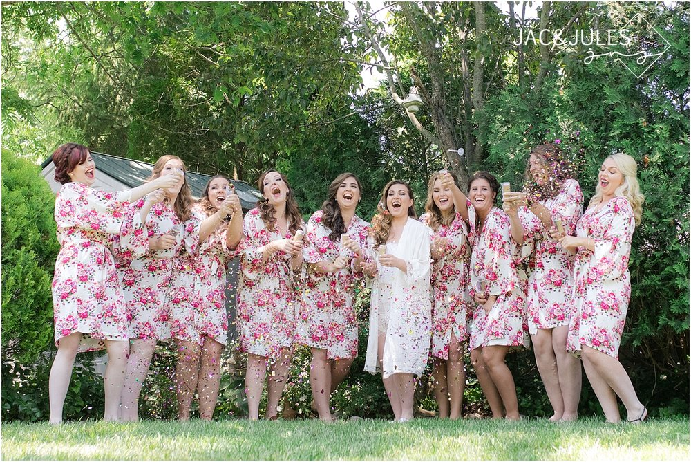 fun bridesmaids photo using confetti