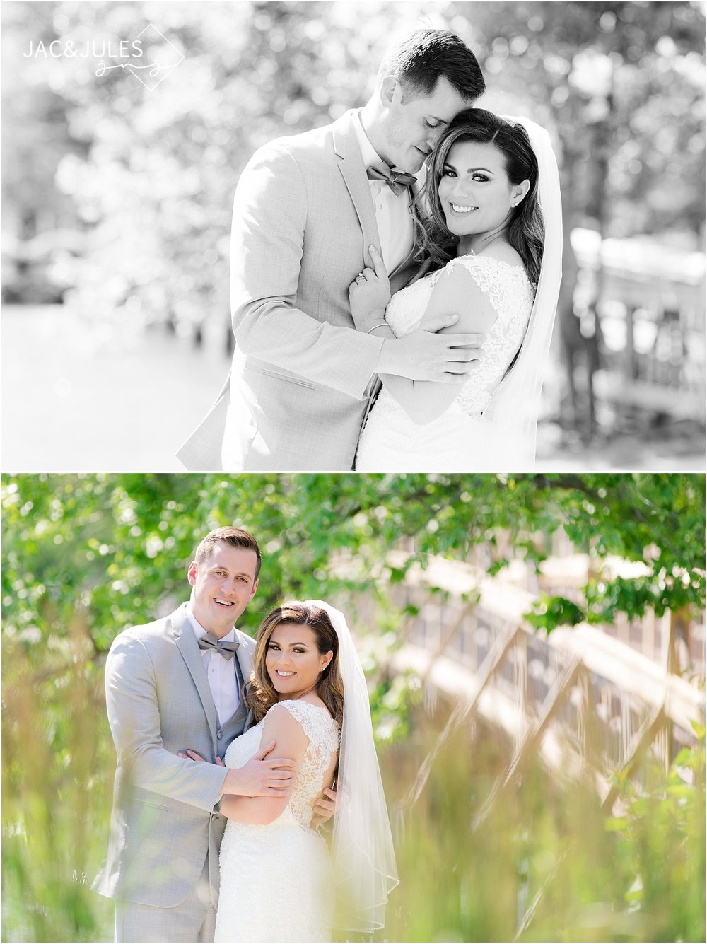romantic natural light wedding photos at divine park in spring lake nj