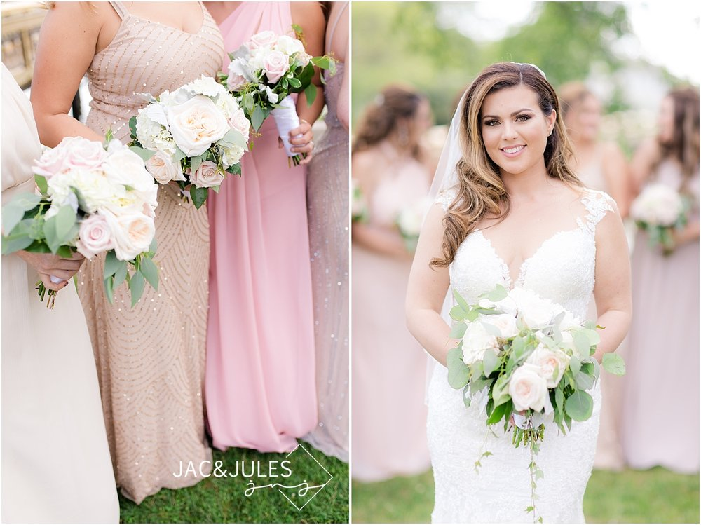 blush wedding colors and bridal portrait at divine park in spring lake nj