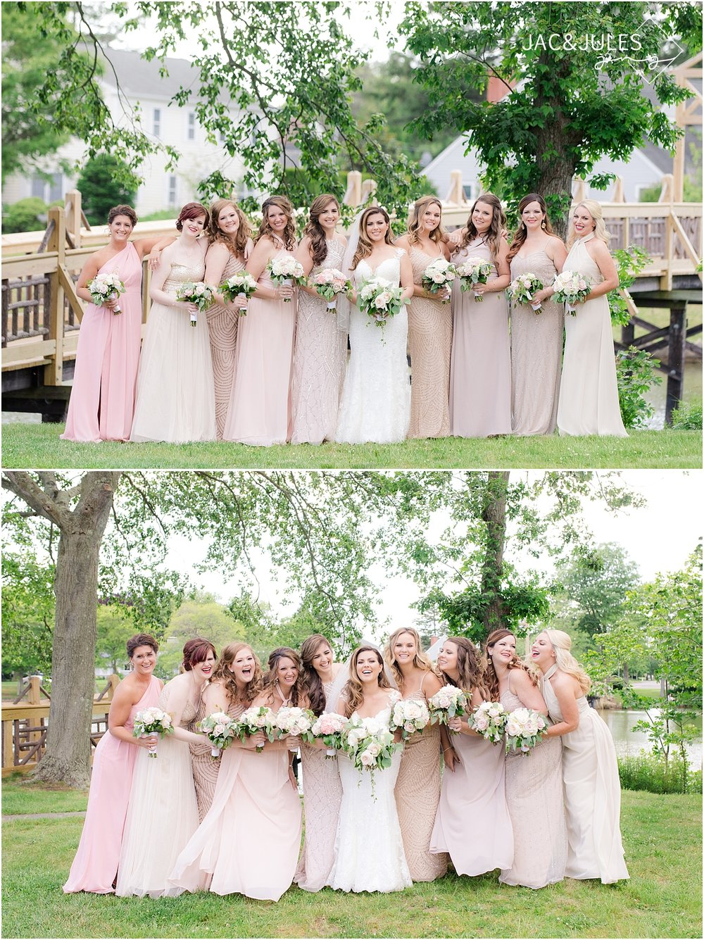 beautiful bridesmaids in blush and champagne colors with greenery bouquets in spring lake nj